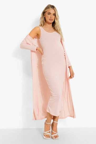 Pink Maternity Sleeveless Plunge Midaxi And Duster