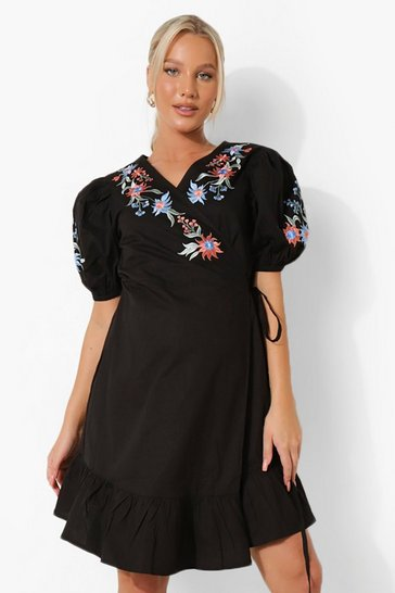 Black Maternity Embroidered Wrap Smock Dress
