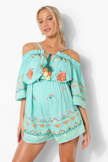 Green Maternity Embroidered Tie Flippy Playsuit