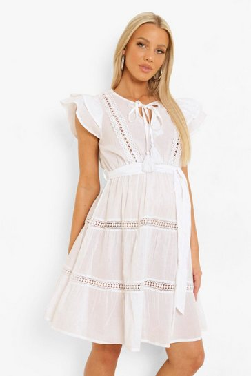 White Maternity Lace Detail Tiered Skater Dress