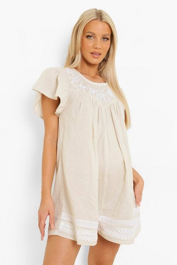 Grey Maternity Embroidered Cotton Smock Playsuit