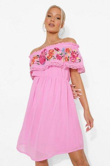Pink Maternity Embroidered Bardot Dress