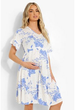 White Maternity Porcelain V Neck Tea Dress