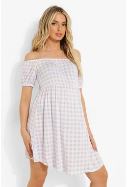 Lilac purple Maternity Gingham Bardot Smock Dress