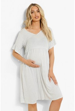 Blue Maternity Stripe V Neck Tea Dress