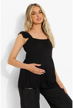 Black Maternity Frill Shoulder Smock Top