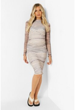 Nude Maternity Landscape Mesh Long Sleeve Bodycon