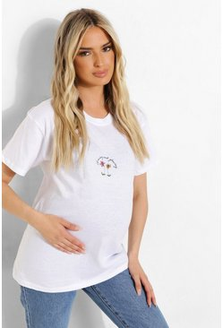White Maternity Growing And Glowing T-shirt