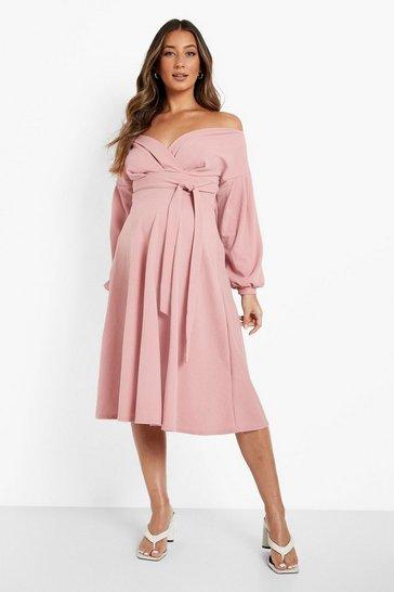 Rose pink Maternity Off The Shoulder Frill Skater Dress