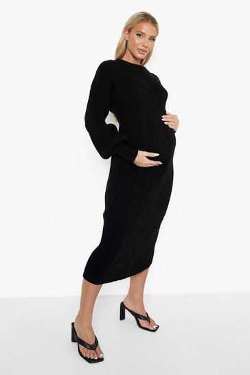 Black Maternity Sleeve Cable Knit Midi Dress