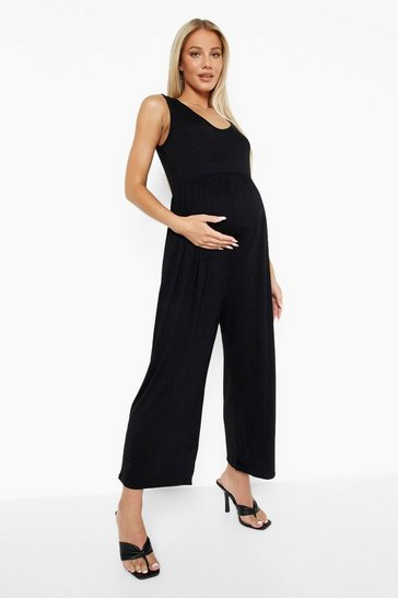 Black Maternity Smock Culotte Jumpsuit