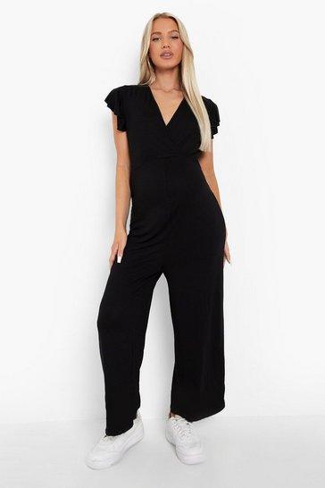 Black Maternity Frill Shoulder Culotte Jumpsuit