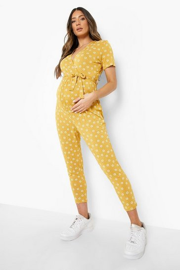 Mustard yellow Maternity Ditsy Wrap Front Jumpsuit