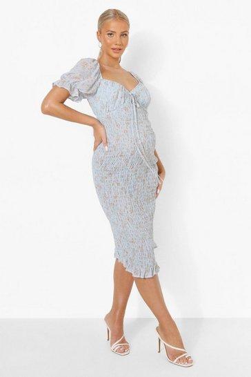 Blue Maternity Ditsy Shirred Midi Dress