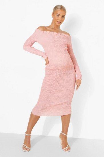Rose pink Maternity Bardot Shirred Midi Dress
