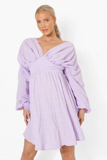 Lilac purple Maternity Balloon Sleeve Crinkle Skater Dress