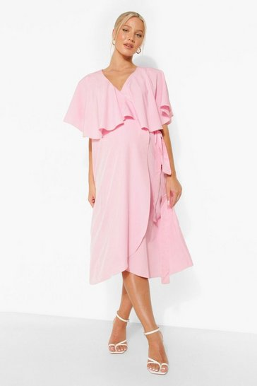 Rose pink Maternity Overlay Tie Waist Midi Dress