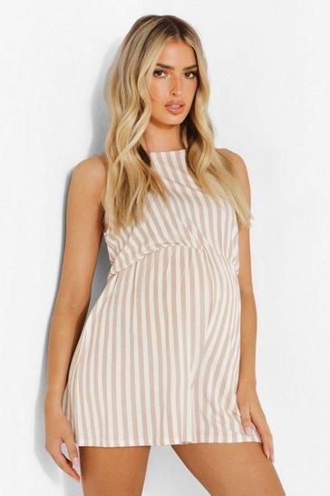 Stone beige Maternity Halterneck Flippy Stripe Playsuit