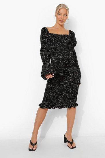 Black Maternity Shirred Polka Dot Midi Dress