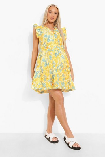 Yellow Maternity Frill Shoulder Floral Smock Dress
