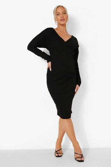 Black Maternity Off The Shoulder Ribbed Dress
