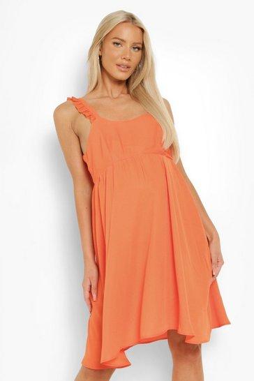 Orange Maternity Frill Shoulder Smock Dress
