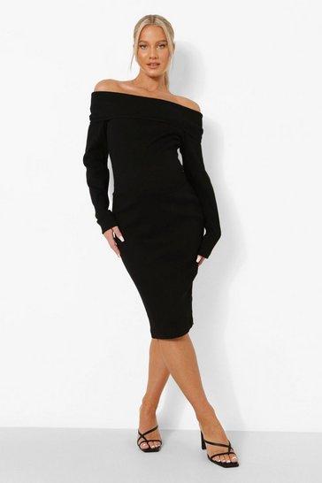 Black Maternity Overlay Bardot Premium Rib Midi