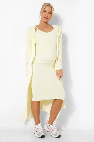Lemon yellow Maternity Towelling Midi Cardigan
