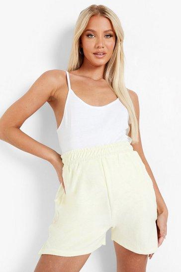 Lemon yellow Maternity Towelling Side Split Short