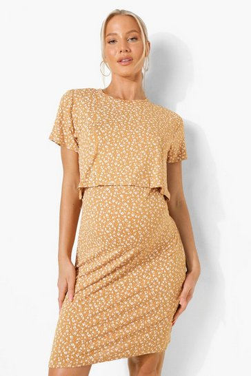 Mustard yellow Maternity Ditsy Nursing Bodycon Dress