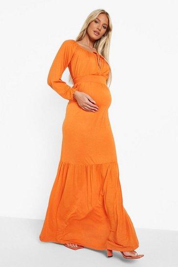 Orange Maternity Bardot Tie Front Maxi Dress