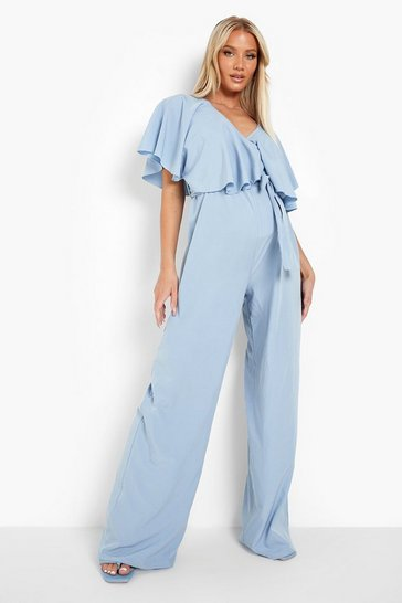 Blue Maternity Frill Overlay Wide Leg Jumpsuits