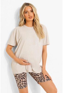 Brown Maternity Leopard Print Cycling Shorts
