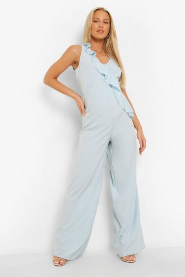 Blue Maternity Frill Plunge Wide Leg Jumpsuits