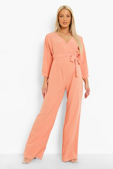 Coral pink Maternity Off The Shoulder Woven Jumpsuit