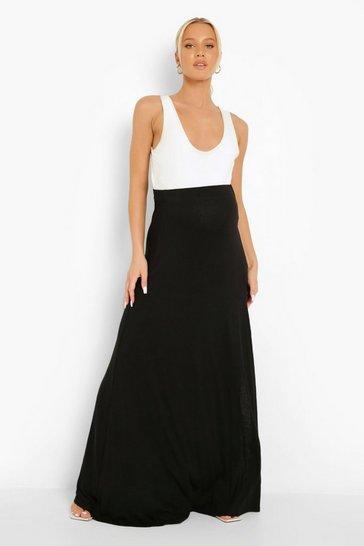 Black Maternity Thigh Split Maxi Skirt