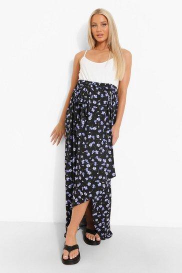 Black Maternity Tie Waist Wrap Skirt