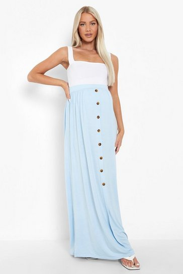 Blue Maternity Button Front Maxi Skirt