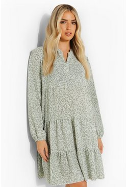 Sage green Maternity Ditsy Floral Smock Dress