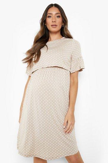 Stone beige Maternity Polka Dot Nursing Smock Dress