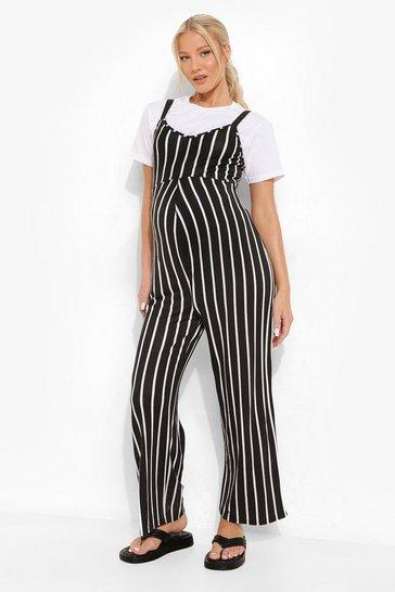 Black Maternity Stripe Culotte Jumpsuit