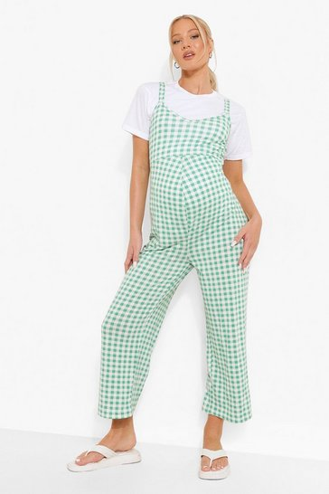 Green Maternity Gingham Culotte Jumpsuit