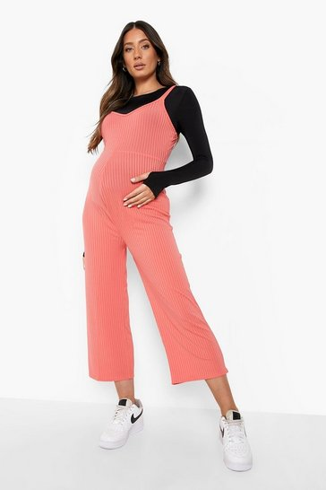 Coral pink Maternity Rib Culotte Jumpsuit