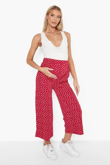 Red Maternity Ditsy Over The Bump Culottes