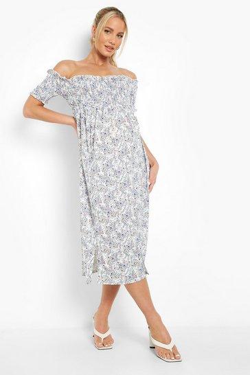 Blue Maternity Bardot Shirred Midi Dress
