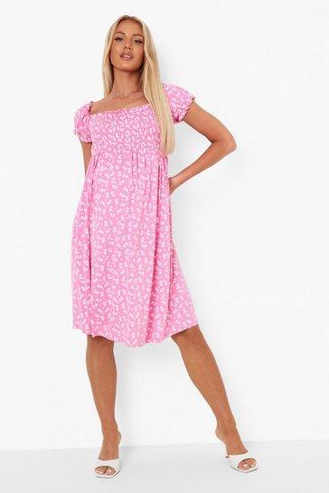 Pink Maternity Shirred Bardot Printed Mini Dress