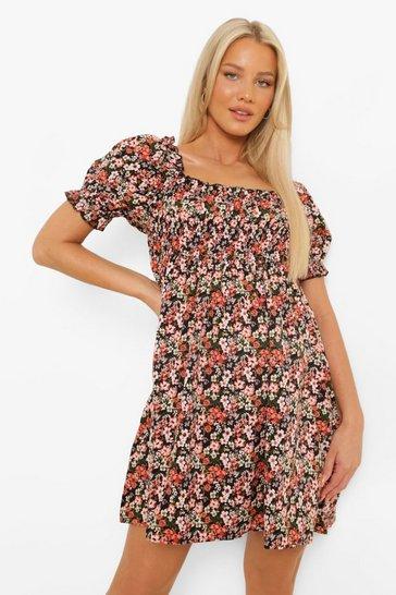 Black Maternity Shirred Puff Sleeve Mini Dress