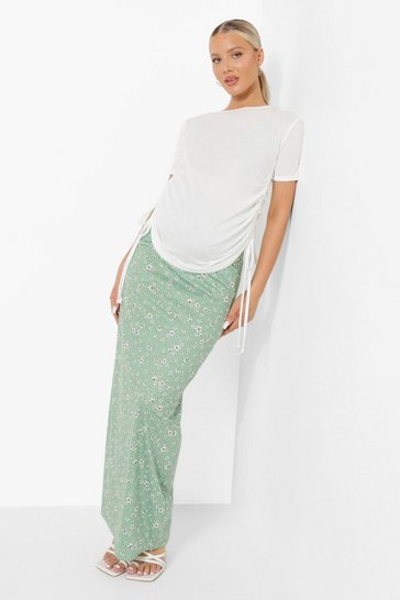 Khaki Maternity Spot Floral Maxi Skirt
