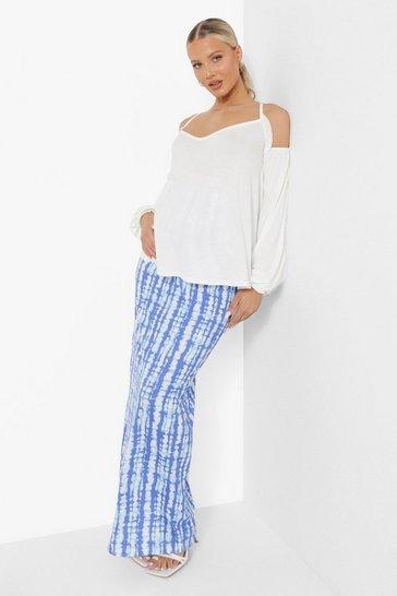 Blue Maternity Tie Dye Maxi Skirt