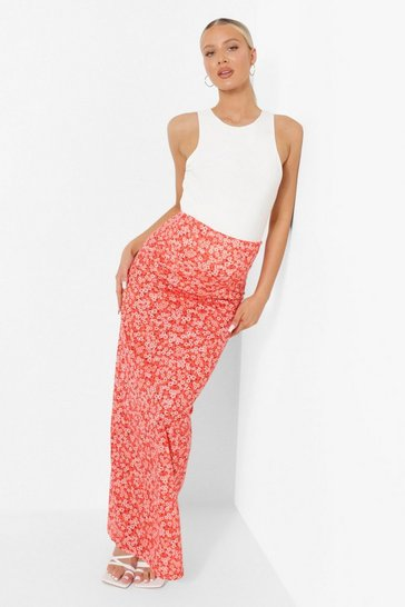 Red Maternity Ditsy Floral Maxi Skirt